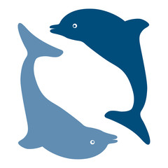 Silhouettes of the dolphins, vector
