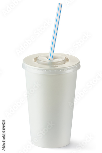 Disposable cup of middle volume for beverages with straw