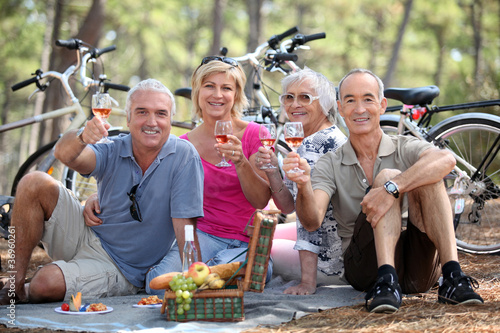 Leinwandbild Motiv Two couple having picnic whilst on bike ride