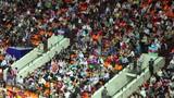 Spectators with Azerbaijani flags poster