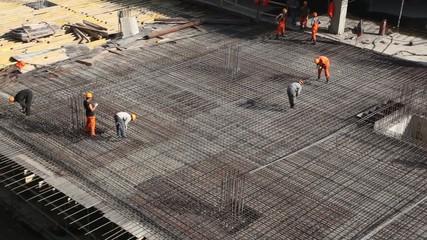 Several builder work in unfinished premises