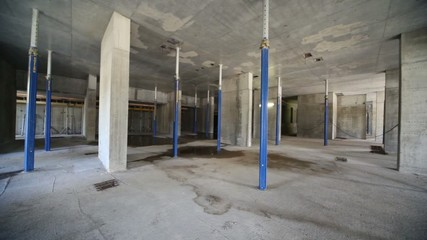 Panorama of unfinished room at construction site