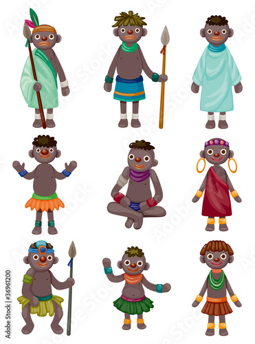 cartoon Africa Indigenous icons