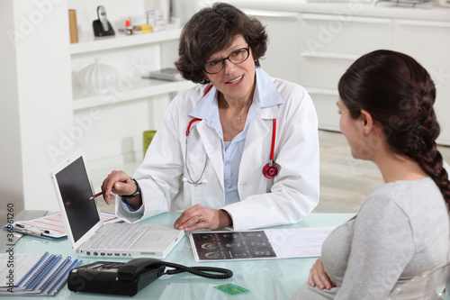 Doctor discussing a patient's results with her