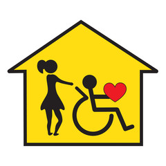 Home health care and support symbol
