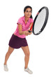 Tennis player swinging racket