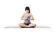 Chinese woman doing yoga.