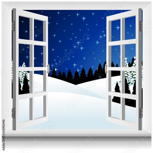 Paesaggio neve alla finestra winter snow landscape window for Finestra con neve