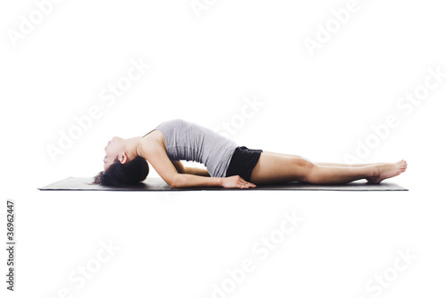 Chinese woman doing yoga.
