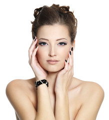 Beautiul young woman with black nails