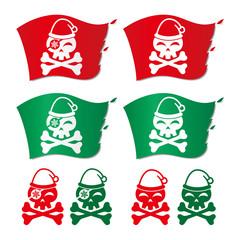 サンタクロースの帽子を被った骸骨の海賊旗