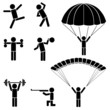People doing body building exercise, skydiving black icons.