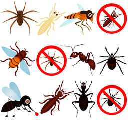 A vector collection of bugs (mosquito, termite, ant, etc)