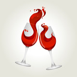 Toasting gesture two red wine glasses with big splash