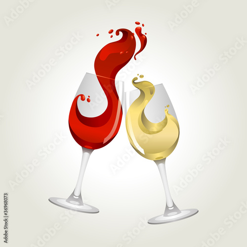 Toasting gesture red and white wine with big splash