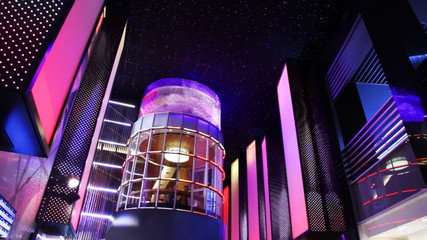 nightclub interiors done as glowing city with tower