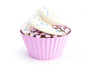 cupcakes 3d on a white background