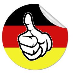 daumen hoch oben deutschland button