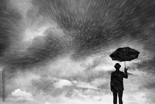 businessman in blizzard