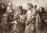 Jesus and children - engraving
