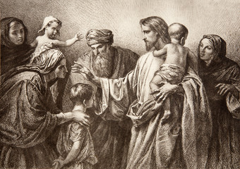 Jesus and children - engraving
