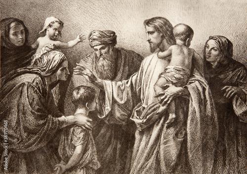 Fototapety, obrazy : Jesus and children - engraving