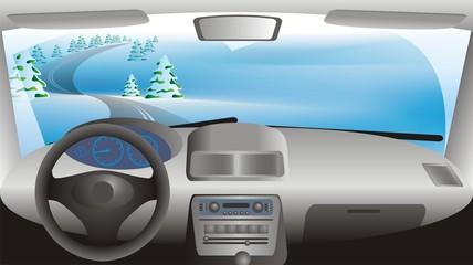 winter landscape through a car window