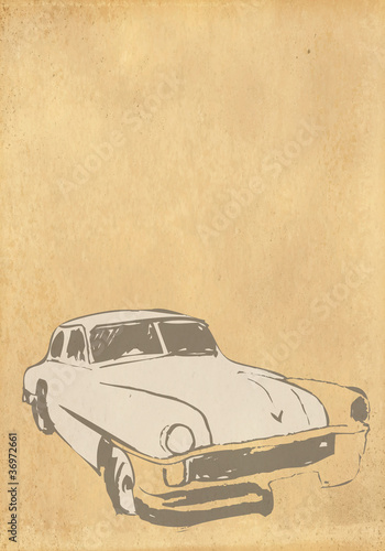 retro background with car