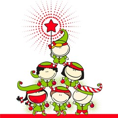 Cute kids in costumes of elves created a christmas tree pyramid