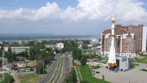 "Real ""Soyuz"" type rocket as monument in Samara, time lapse"
