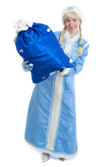 girl in christmas costume of Snow Maiden with big present