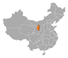 Map of China, Ningxia highlighted