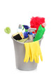 A studio shot of a bucket with cleaning supplies