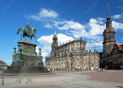 Monument to King John, Church and Dresden Castle, Germany