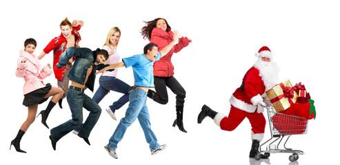 Christmas shopping people.