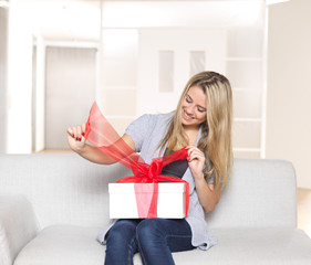 Young Woman opening present