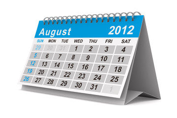 2012 year calendar. August. Isolated 3D image