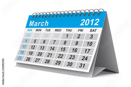2012 year calendar. March. Isolated 3D image