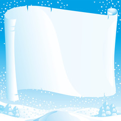 Vector christmas winter landscape with empty blank