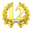 12 twelve number laurel wreath