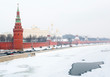 Snow winter in Moscow. Kremlin .