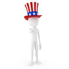 3d man - independence day, on white background