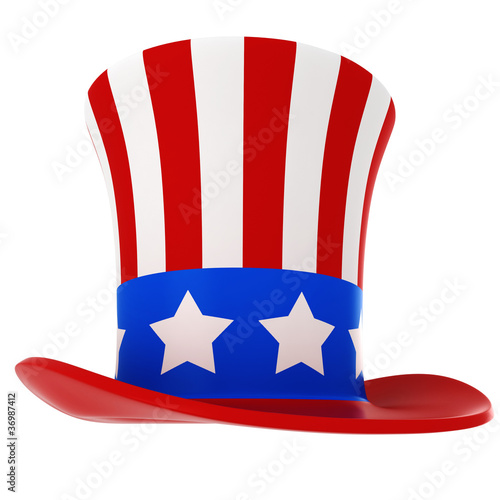 3d hat - usa independance day, on white background