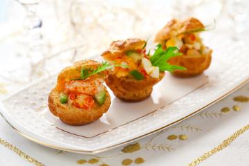 Prawn salad in mini-brioche for holiday