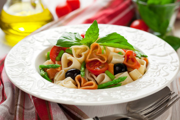 Heart-shaped pasta with vegetables