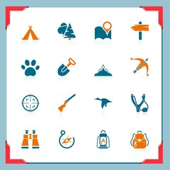 Camping and hunting icons | In a frame series