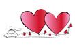 Hochzeitskarte mit zwei Herzen