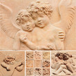 collage with angelic reliefs in tuscan terracotta