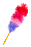 Soft colorful duster with plastic handle poster