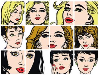 Ilustraciones con primeros planos del rostro de mujeres